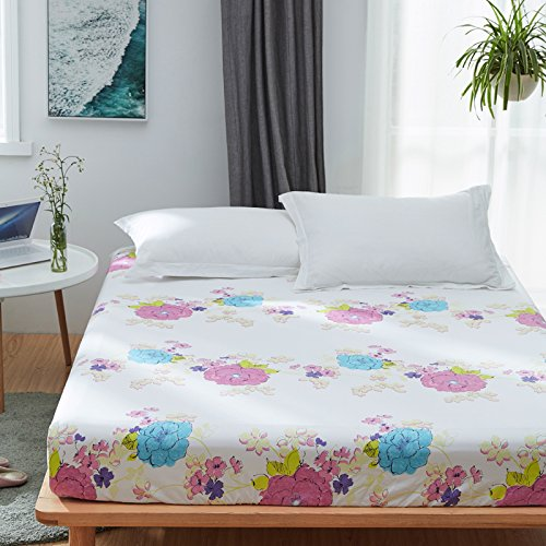 KFZ Fitted Sheet Bedsheet Two Pillowcases for Bedding Duvet Cover Set Comforter Microfiber MJ Twin Full Single Double Bed Rose Mary Flower Design for Kids 3pcs (Love Rose, Pink, Twin 47''x79'')