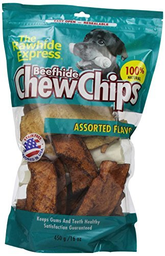 The Rawhide Express Assorted Flavored Beefhide Chips 1 Pound (2 Pack)