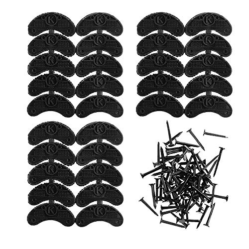 (Heel Plates 30 PCS Rubber Shoes Heel Taps Tips Repair Pad Replacement Medium Size with Nails (Black))