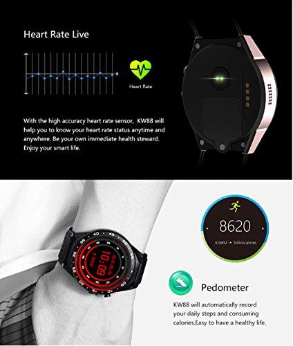 3G Smart Watch, Android 5.1 OS, Quad Core 2.0MP Camera Bluetooth Nano SIM Card Soket WiFi GPS Heart Rate Monitor (Black+Silver) by Kingwear (Image #4)