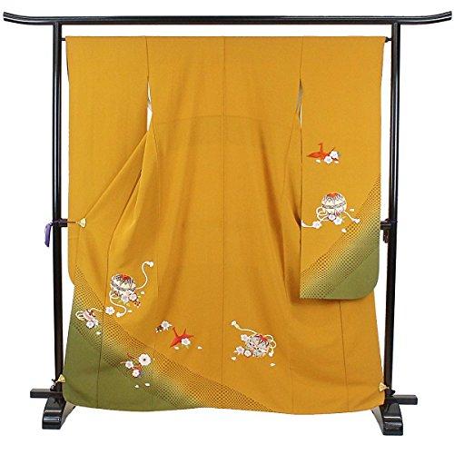 振袖 毬 刺繍 黄土色 成人式 古典 正絹 着物 きもの リサイクル レディース 【中古】 70171172
