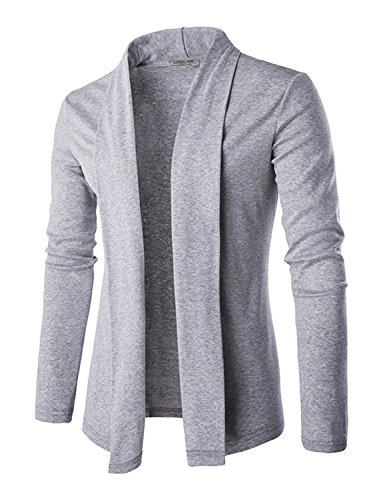 DAVID.ANN Men's Long Sleeve Draped Open Front Shawl Collar Longline Cardigan,Grey,Small by DAVID.ANN