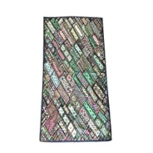 Mogul Vintage Sari Tapestry Embroidered Patchwork Green Wall Hanging Ethnic Home Décor 90x80