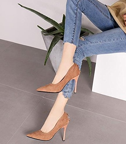 5Cm 9 Shallow Brown Mouth Sharp Commuter Spring Single Temperament Heel Elegant Lady Heels Fine Light Leisure Suede Shoes Fashion MDRW 34 Work Elegant qgRwzH8