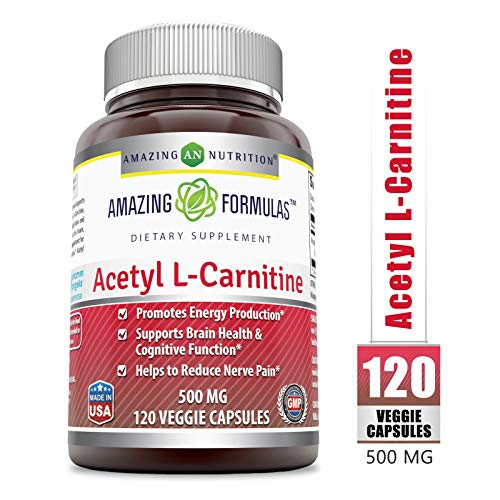 Amazing Formulas Acetyl L-Carnitine Hcl Veggie Dietary Supplement - 500 Mg, Veggie Capsules (Non-GMO) Per Bottle - Promotes Energy Production, Supporting Brain Heath & Cognitive Function (120 Count)