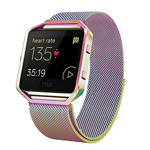 Mesh Stainless Steel Keychain - Andyou Wristband Compatible with Blaze Smart Watch, Stainless Steel Replacement Adjustable Band with Metal Frame for Fit bit Blaze Women Men, Colorful Small