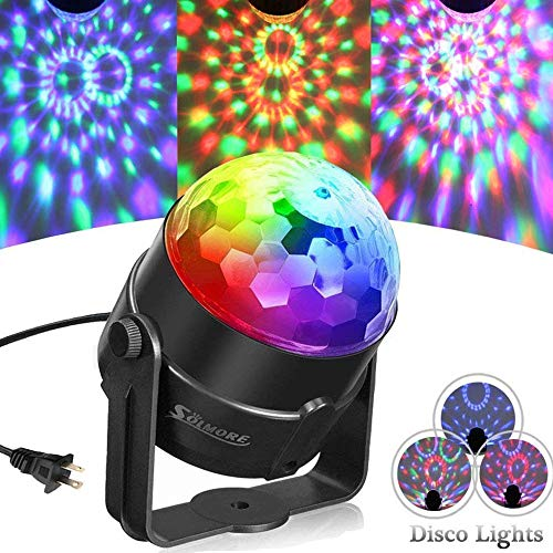Party Ball Lights,SOLMORE 5W RGB Sound Activated Rotating Crystal DJ Disco Ball Lights Stage Lights Effect Show Light for Kids Room Dancing Wedding Birthday Parties Gifts Bar Celebration KTV Club Pub