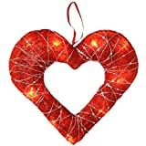 WeRChristmas Pre-Lit Sisal Heart with Woven Silver Glitter String Christmas Decoration, 28 cm - Red
