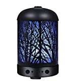 COOSA 100ml Essential Oil Diffuser Enchanted Forest Pattern with 7 LED Light 4 Time Setting Metal Cover Waterless Auto-Off Ultrasonic Aromatherapy Cool Aroma Mist Humidifier for Home Office Bedroom Holiday Gift (Black)