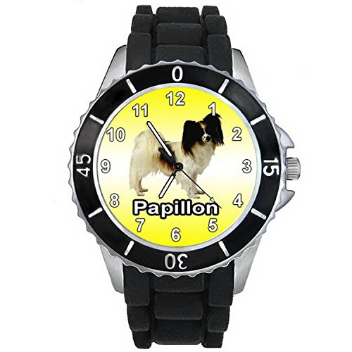 Black Papillon Watch - BMSC1117 Papillon Butterfly Dog Black Jelly Silicone Band Mens Womens Wrist Watch