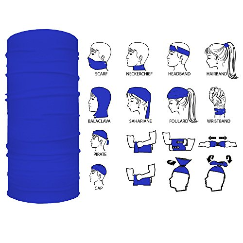 13-in-1 Multifunctional Headwear: Sports Headband for Men and Women, Comfortable and Versatile Bandanna, Warm Seamless Protective Scarf - Neck Gaiter, Face Shield, Helmet Liner, Mask (Royal Blue) ()