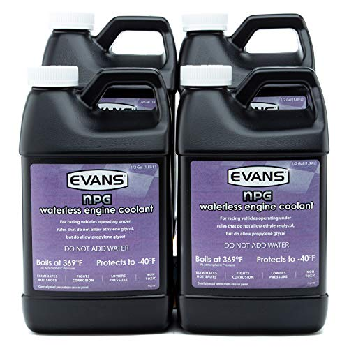 Evans EC10064 Waterless Race Track Specialty Coolant (NPG), 64 fl oz., 4 Pack With Funnel (Best Coolant For High Performance Cars)