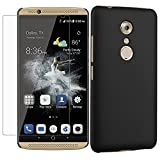 ZTE Axon 7 Case + Screen Protector,Gzerma Ultra Thin Slim Frosted PC Hard Shock Absorbing Case Cover and Shatter-Proof, Bubble-Free Protective Film for ZTE Axon 7 Smartphone (Black)