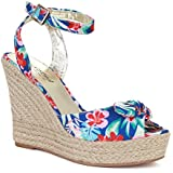 Twisted Women's Kenzie Solid Canvas Braided Espadrille Wedge