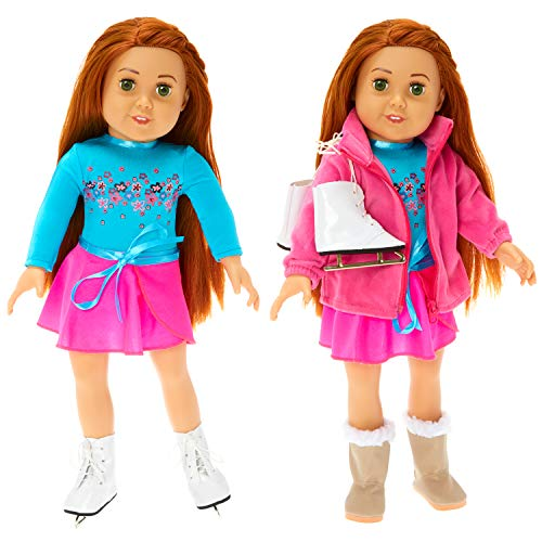 """9b806abd77 Springfield Skating Outfit Sets, Fits 18"""" American Girl Dolls, 4 Items:  Doll Leotard and Skirt, Sherpa-Trimmed Doll Snow Boots, Doll Ice Skates,  and Plush ..."""