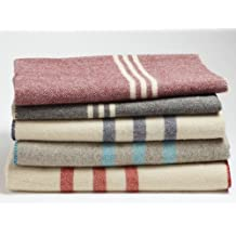 Coyuchi Organic Striped Wool Blanket, Queen, Charcoal with Natural
