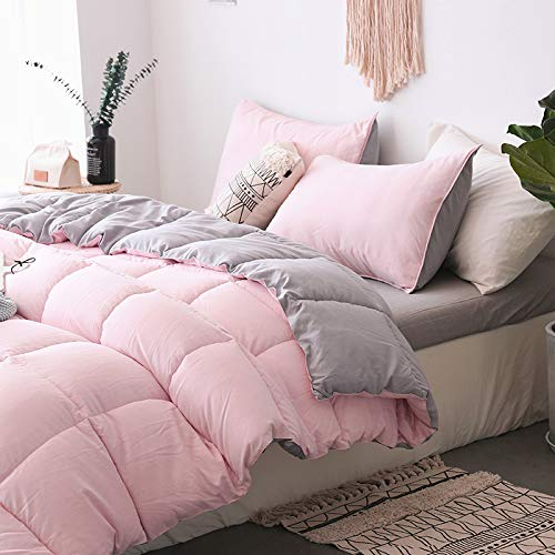 KASENTEX All All Season Down Down Alternative Quilted Comforter Set with Sham(s) - Reversible Ultra Soft Duvet Insert Hypoallergenic Machine Washable, Pink Potpourri/Quartz Silver by KASENTEX (Image #6)