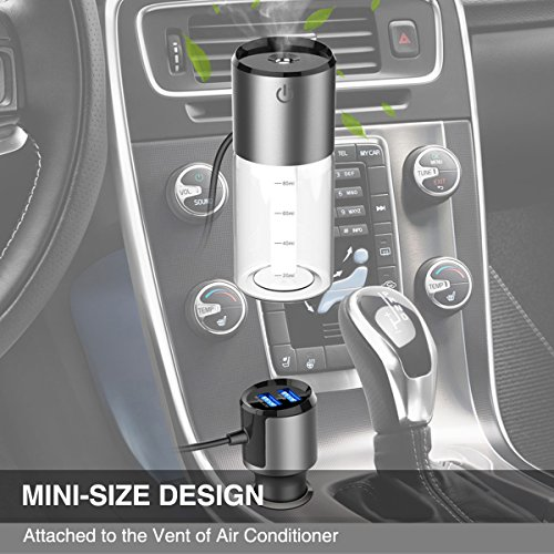 Car Humidifier, SUBLE Dual USB Charger Diffuser Essential Oil Air Refresher Portable Vent Clip Mini USB Air Purifiers Humidifier for Car