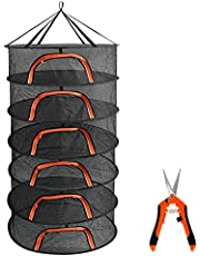 AILEEPET Herb Drying Rack Plant Hanging Mesh Dry Net with U Shaped Orange Zipper & Garden Pruning Shears for Hydroponics Flowers and Buds (6Tier-D24*H48inch)