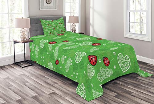 (Lunarable Ladybugs Bedspread Set Twin Size, Hearts Ladybug Leaves Natural Environment Ornament Lady Bug Leaf Swirl, Decorative Quilted 2 Piece Coverlet Set Pillow Sham, White Green)