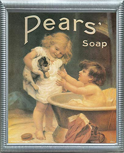 Pears Soap Ad Wall Decor Vintage Advertisement Picture Bathroom Silver Framed Art Print Poster (16x20)