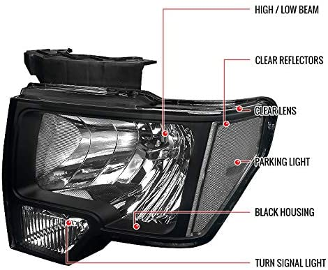 Carpartsinnovate For 2009-2014 Ford F150 F-150 Replacement Euro Black Headlights Driving Lamps Pair