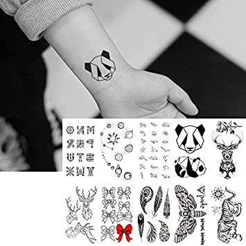 Oottati 10 Hojas Pequeñas Cute Dedo Tatuajes Temporales Alfabeto ...
