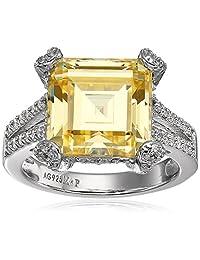 Myia Passiello Timeless Platinum-Plated Swarovski Zirconia Canary Yellow Ring