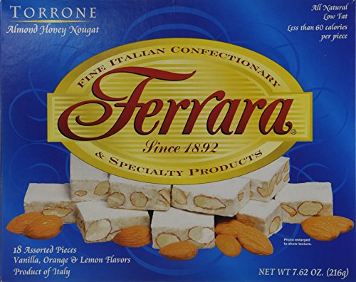 Italian Almond Candy (Torrone Nougat Candy, 18 Assorted Pieces (Ferrara) NET WT 7.62 216g)