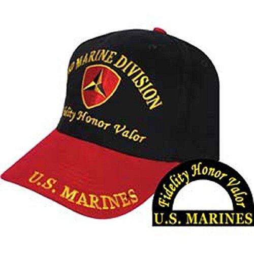 Infinity Superstore Marine Corps EGA 3rd Division Fidelity Honor Valor Hat 407C,Black,One SizeAdjustable (Hat Division Marine)