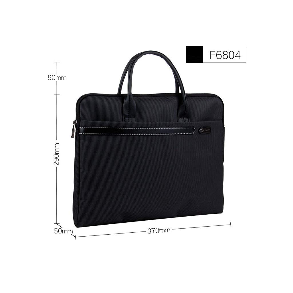 Hand-held Inclined File Bag, Canvas Waterproof Zipper File Information Bag 37×29×5cm (Color : Black, Size : 37×29×5cm) by QSJY File Cabinets