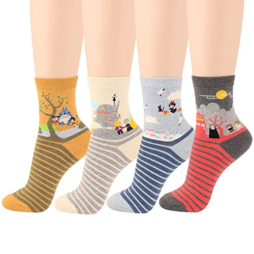 WOWFOOT Famous Japanese Animation Cartoon Character Vivid Print Socks  1-Animation-4 pairs  1-animation-4 Pairs One (Superhero Fancy Dress For Women)