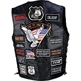 Diamond Plate Rock Design Genuine Buffalo Leather Biker Vest With 42 Patches- L