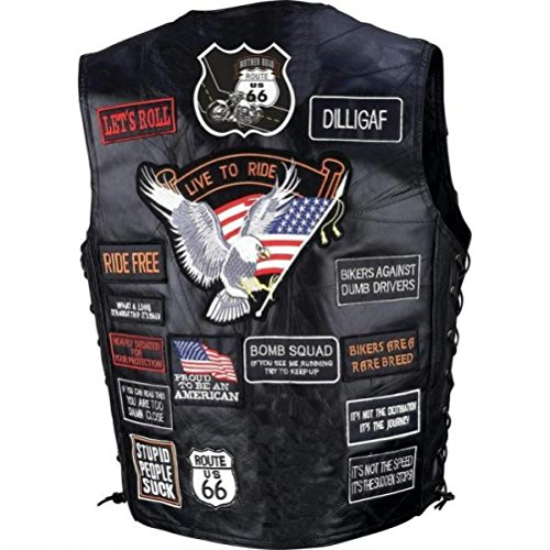 Genuine Vest Buffalo Biker Leather (Diamond Plate Rock Design Genuine Buffalo Leather Biker Vest With 42 Patches- L)
