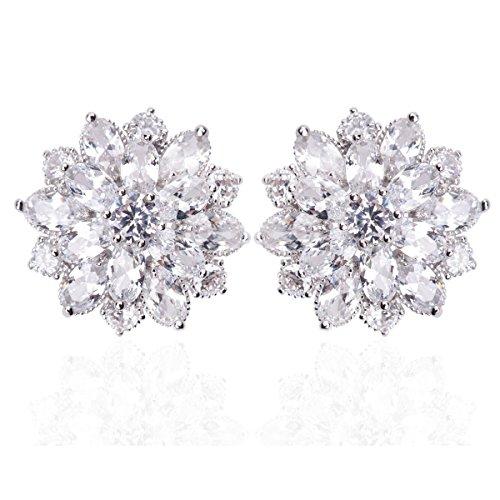 Designer Bridal Earrings - Bridal Clear Flower Stud Earrings Set in Cluster Cubic Zirconia, Hypoallergenic Jewelry Gift For Brides Bridemaid Women Girls Best Friends