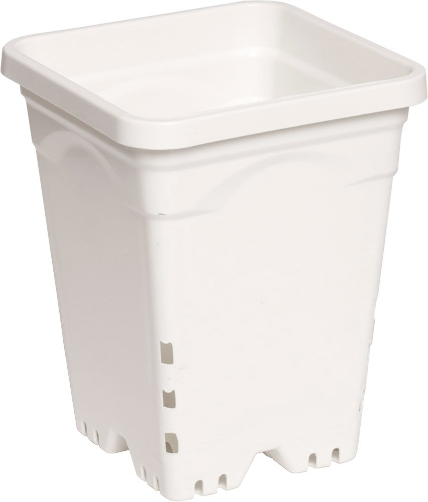 Active Aqua 7''x7'' Square White Pot, 9'' Tall, Pack Of 50 by Hydrofarm