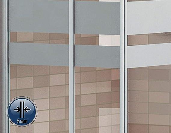 Mampara de Ducha Angular Modelo SICILIA (2 Hojas Fijas y 2 Correderas) Cristal Decorado de 4mm y Perfil Aluminio Lacado en Blanco 70x90: Amazon.es: Bricolaje y herramientas