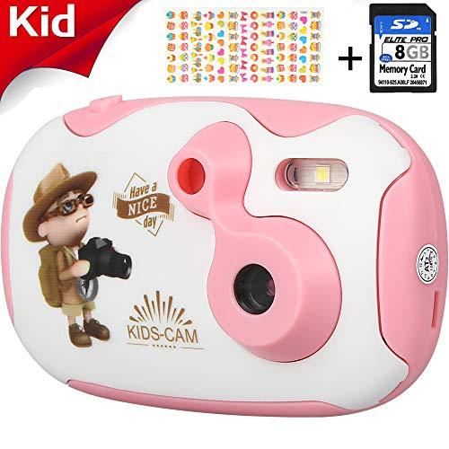 Kids Camera for Girls & Boys, AGM 1.4 Mini Children Video Camera Recorder 8GB Memory Card Toddler Digital Camera, DIY Creative Birthday Childrens Day Gifts (Pink)