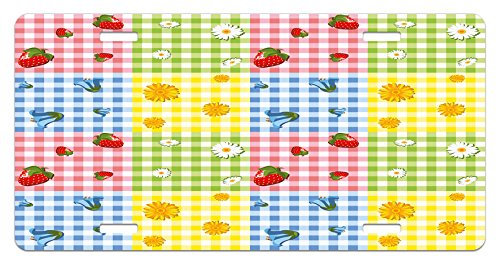 - Spring License Plate by Ambesonne, Colorful Pattern with Strawberries Chamomiles Bluebells and Marigold Picnic Design, High Gloss Aluminum Novelty Plate, 5.88 L X 11.88 W Inches, Multicolor
