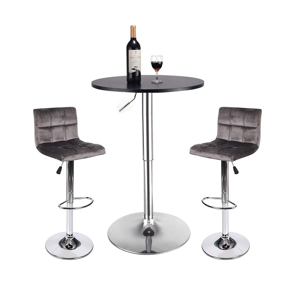 BarStool Table 3-set Coffee Home Velvet Fabric Tufted Foam Silver Chrome Foot Rest Counter Bar Height Adjustable Outdoor Indoor 24-inch Wooden Gas Desk SGS Wine Drink Dining Round Black Brown Velvet Elecwish