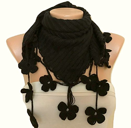 Hand Crocheted Scarf (Black Fabric Scarf with Hand Crocheted Flowers Edge)