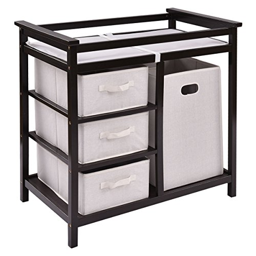 Espresso Infant Baby Changing Table w/3 Basket Hamper Diaper Storage Nursery New by onestops8