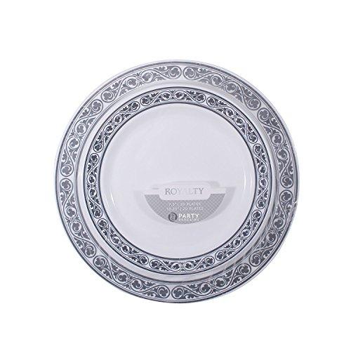 Disposable Plastic Plates Combo | Heavy Duty u0026 Premium Quality White Dinnerware Set With Silver Rim Border | Excellent for Weddings Baby u0026 Bridal Showers ...  sc 1 st  Amazon.com & Fancy Paper Plates: Amazon.com