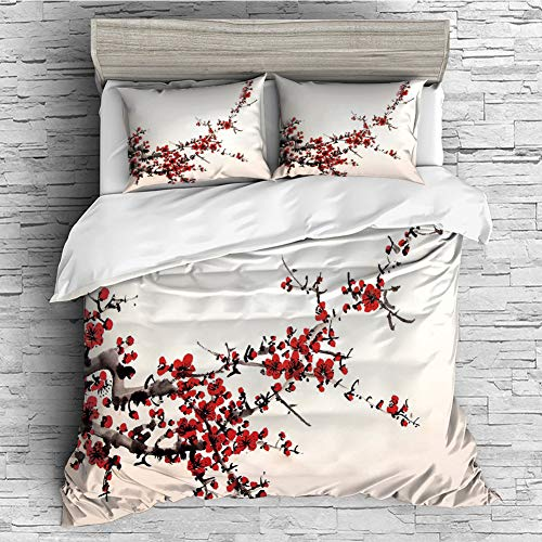 All Season Flannel Bedding Duvet Covers Sets for Girl Boy Kids 4 Pcs (Double Size) Art,Elegance Cherry Blossom Sakura Tree Branches Ink Paint Stylized Japanese Pattern Decorative,Red Cream Brown ()