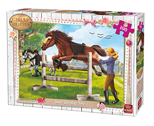 King Kng05295 Girls And Horses Show Jumping Time Puzzle 100-piece