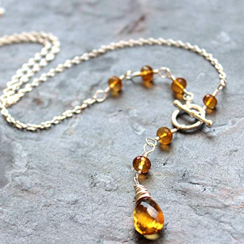 (Citrine Necklace Toggle Clasp Front Close Sterling Silver November Birthstone 18 Inch)