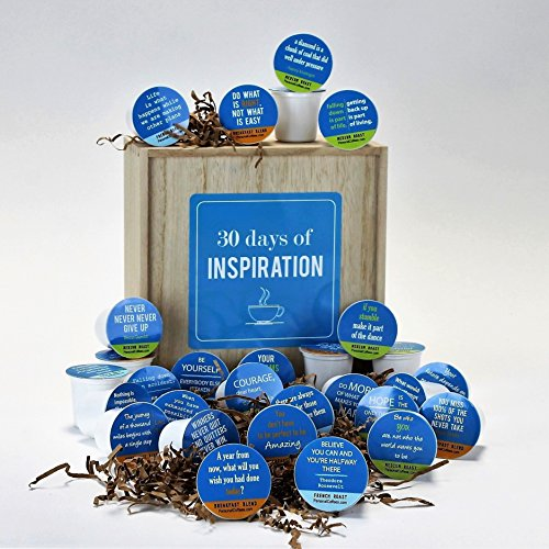 INSPIRATION BY THE CUP - 30 Inspiring Quotes On 30 Single Serve Coffee Variety Cups, In A Keepsake Wooden Gift Box