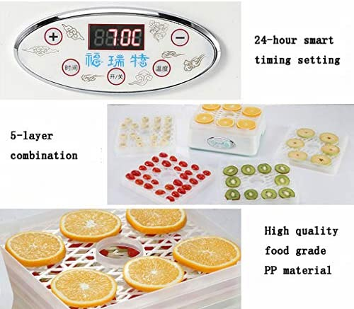 Máquina de conservación de alimentos para el hogar Secador de alimentos, material de PP de alta calidad Temporizador de 24 horas Ajuste de temperatura ajustable Secador de 35 a 70 ° C para frutas fres