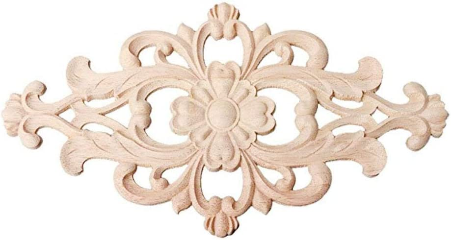 Beoot Hand Carved Wooden Carved Onlay Appliques Wood Carving Decal Unpainted Furniture Bed Door Cabinet Decor (20×10cm/7.87×3.94inch)