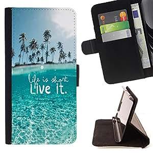 - Life is short Liveit/ Personalizada del estilo del dise???¡Ào de la PU Caso de encargo del cuero del tir????n del soporte d - Cao - For Apple Iphone 6